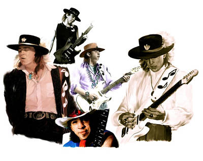 Stevie Ray Vaughan Drawing - Rave On  Stevie Ray Vaughan by Iconic Images Art Gallery David Pucciarelli