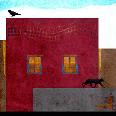 Mexico Digital Art - Raven And Cat by Carol Leigh