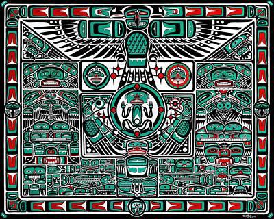 Alaska Totem Pole Painting - Raven Creates Our World by Bob Patterson