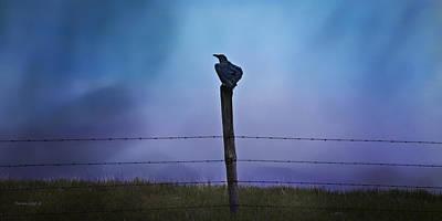 Raven In The Rain Print by Theresa Tahara