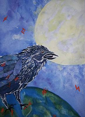 Visionary Art Painting - Raven Speak by Ellen Levinson
