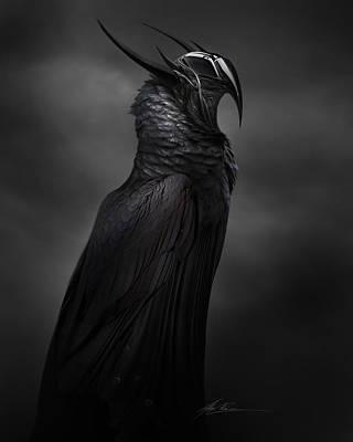 Creepy Digital Art - Ravenmech by Alex Ruiz