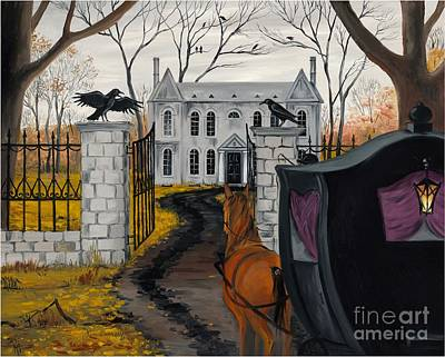 Haunted Mansion Painting - Raven's Estate by Margaryta Yermolayeva
