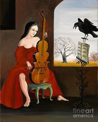 Haunted House Painting - Raven's Melody by Margaryta Yermolayeva