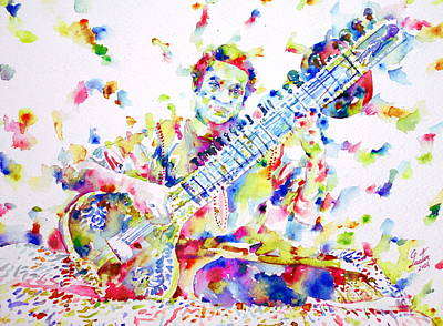 Ravi Painting - Ravi Shankar - Watercolor Portrait by Fabrizio Cassetta