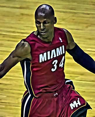 Miami Heat Painting - Ray Allen Portrait by Florian Rodarte