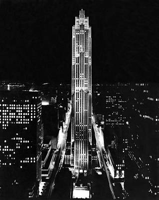 Illumination Photograph - Rca Building At Night In Nyc by Underwood Archives