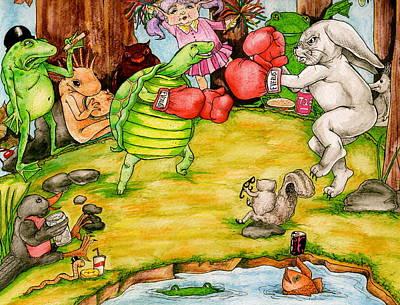 Salamanders Drawing - Re Match by Julie McDoniel