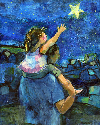 Daughters Painting - Reach For The Stars by Jen Norton