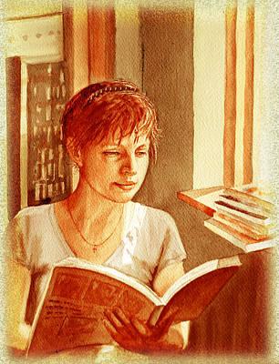 Reading A Book Vintage Style Print by Irina Sztukowski