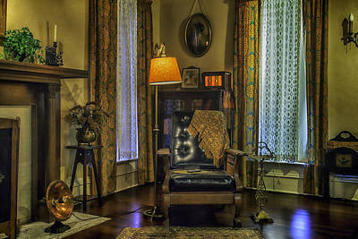 Reading Nook With Leather Chair Print by Lynn Palmer
