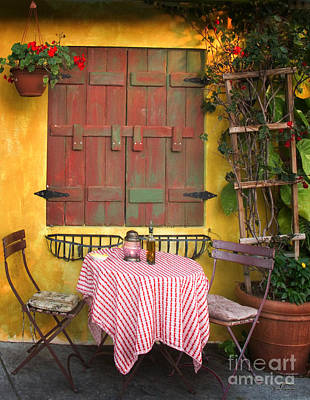 Shutters Photograph - Ready For A Customer At Cafe In Gulf Port Florida by Jim Swallow