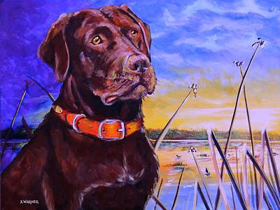 Chocolate Labrador Retriever Painting - Ready For Work by Karl Wagner