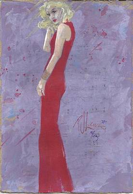 Woman In Red Dress Painting - Ready To Sing by P J Lewis