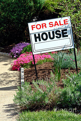Real Estate For Sale Sign And Garden Print by Olivier Le Queinec