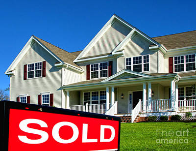 Real Estate Realtor Sold Sign And House For Sale Print by Olivier Le Queinec