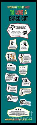 Bastet Drawing - Reasons To Love A Black Cat Infographic by Pet Serrano