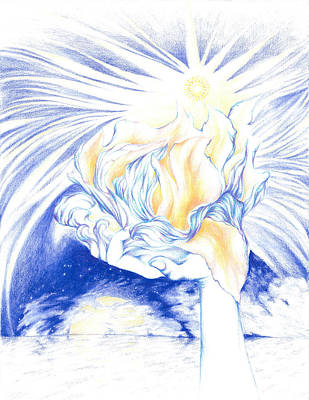 Gift Of Love Drawing - Receiving Grace From The Divine    Oneness Art by Lydia Erickson