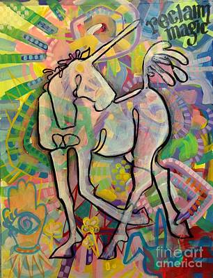 Unicorn Painting - Reclaim Magic by Kimberly Santini