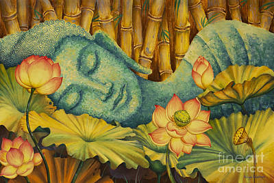 Asian Painting - Reclining Buddha by Yuliya Glavnaya