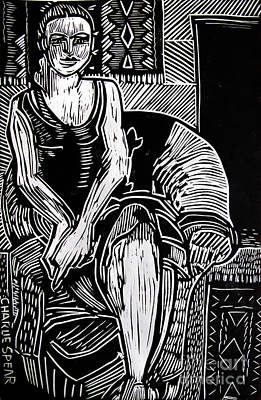 Lino-cut Relief - Reclining by Charlie Spear