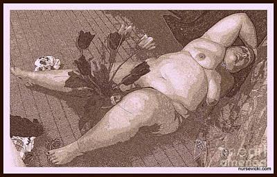 Peter Paul Rubens Digital Art - Reclining  Nude With Tulips by Victoria Beasley