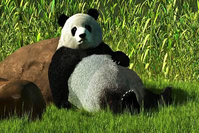 Tuan Digital Art - Reclining Panda by Daniel Eskridge