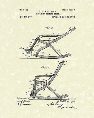Reclining Drawing - Reclining Rocker 1892 Patent Art by Prior Art Design