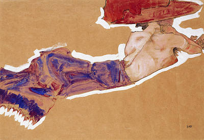 Reclining Semi-nude With Red Hat Print by Egon Schiele