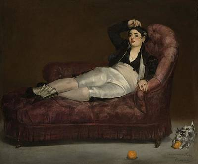 Clothes Clothing Painting - Reclining Young Woman In Spanish by Edouard Manet