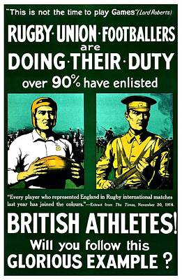 Rugby Photograph - Recruiting Poster - Britain - Rugby by Benjamin Yeager