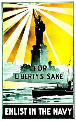 Recruiting Poster - Ww1 - For Liberty's Sake Print by Benjamin Yeager