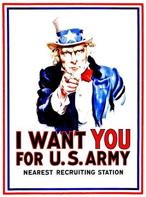 Recruiting Poster - Ww1 - I Want You Print by Benjamin Yeager