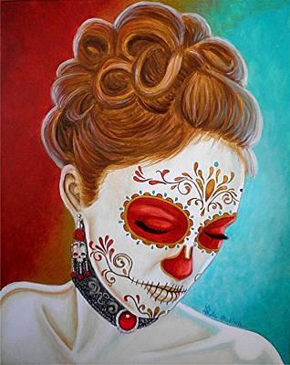 Painted Face Painting - Recuerdos De Mi Amor Escarlata by Al  Molina
