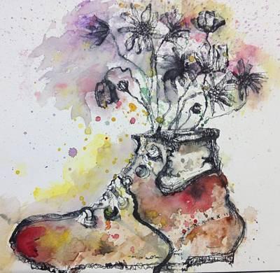 Representative Abstract Mixed Media - Recycle Shoes by Isaac Alcantar