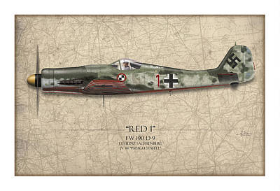 Airplane Painting - Red 1 Focke-wulf Fw-190d - Map Background by Craig Tinder