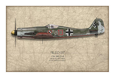 Tinder Digital Art - Red 13 Focke-wulf Fw 190d - Map Background by Craig Tinder