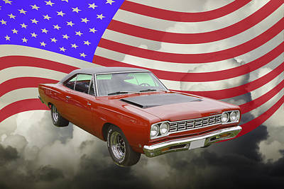 Roadrunner Digital Art - Red 1968 Plymouth Roadrunner Muscle Car And Us Flag by Keith Webber Jr