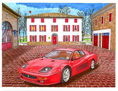Conceptual Drawing - 1995 Ferrari 512m Enzo Garage by Jack Pumphrey