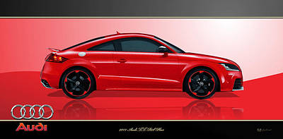 Cars Digital Art - Red 2013 Audi T T  R S Plus With 3 D Badge  by Serge Averbukh