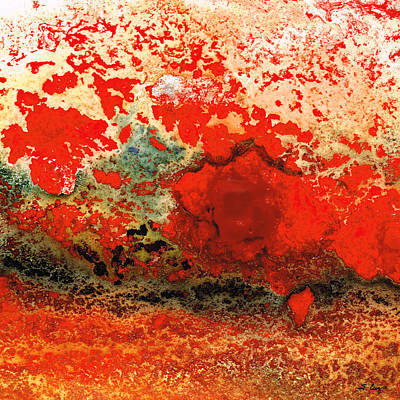 Red Abstract Art - Lava - By Sharon Cummings Print by Sharon Cummings