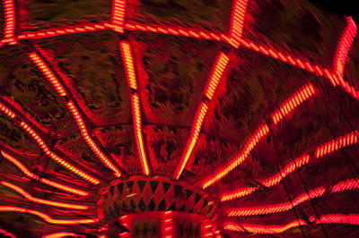 Red Abstract Carnival Lights Print by Garry Gay