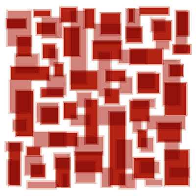 Red Abstract Patches Print by Frank Tschakert