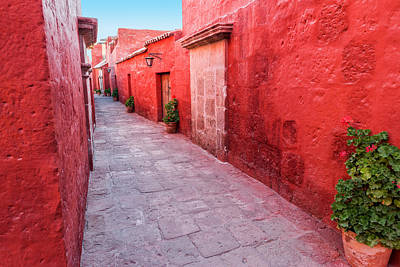 Red Alley In Monastery Print by Jess Kraft