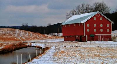 Red Barn In Winter Photograph - Red Amish Barn In Winter by Dan Sproul