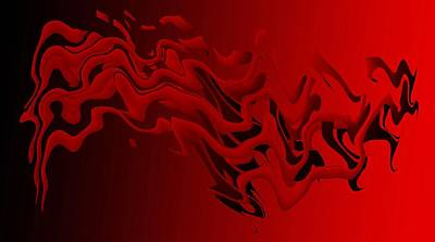 Red And Black Abstract Art In Digital Art Print by Mario Perez