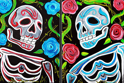 Figures Painting - Red And Blue Skulls And Roses by Laura Barbosa