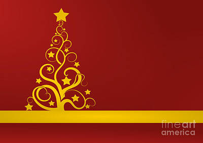 Red And Gold Christmas Card Print by Martin Capek