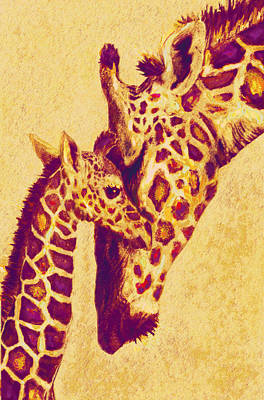 Red And Gold Giraffes Print by Jane Schnetlage