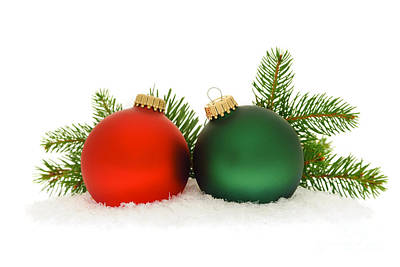Red And Green Christmas Baubles Print by Elena Elisseeva